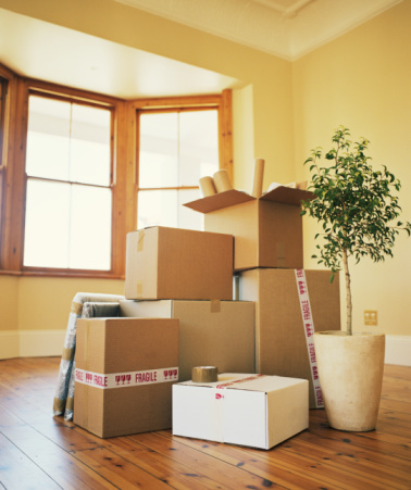 household items in boxes