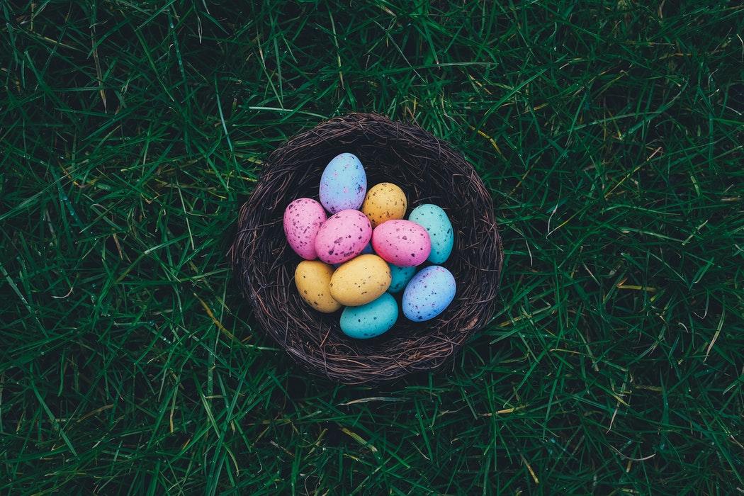 A nest full of Easter eggs.