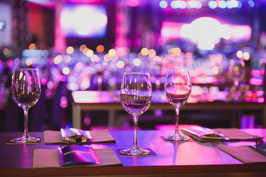 Wine glasses at a gala.