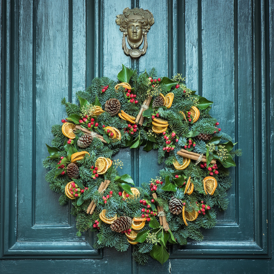 Add a festive wreath if you're selling during the holidays